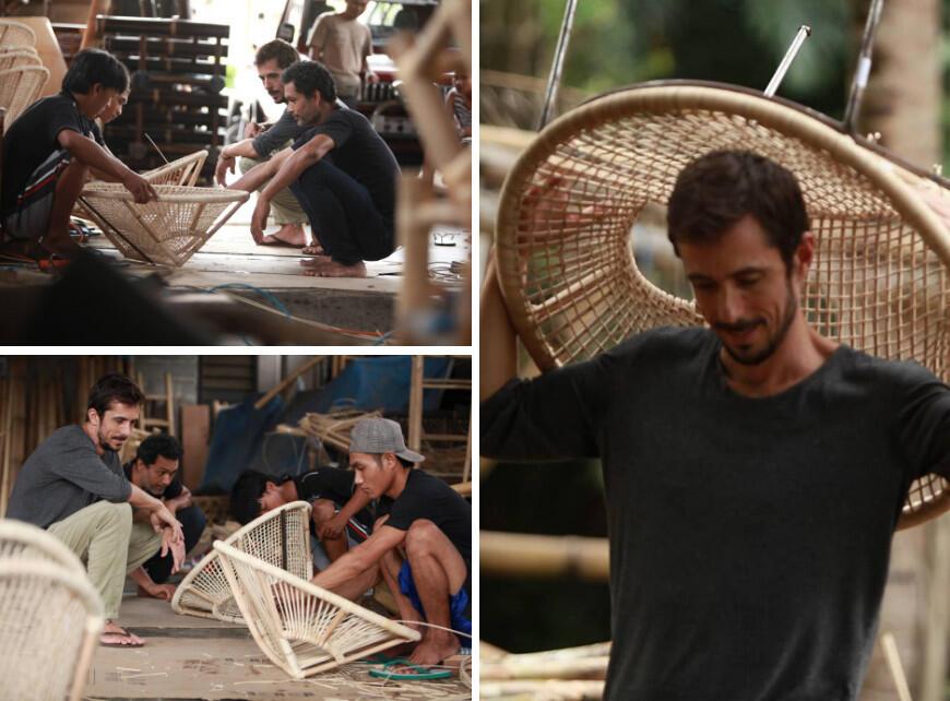 Founder Joris van Balkom met zijn team uit Bali bezig met het ontwerp van de Ubud stoel.