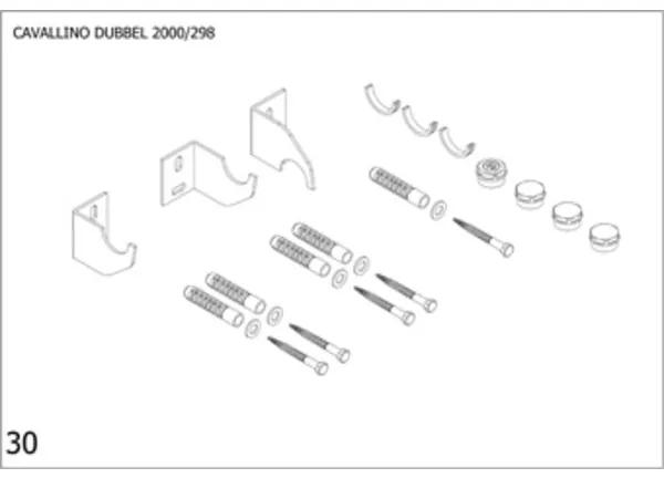 Plieger Cavallino bevestigingsset designradiator dubbel Cavallino breedte 298mm pergamon 7253780
