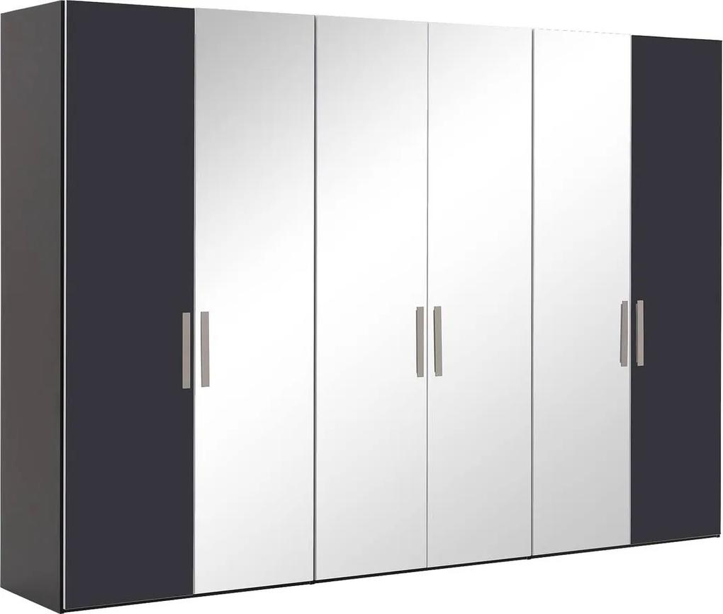 Goossens Kledingkast Easy Storage Ddk, Kledingkast 304 cm breed, 220 cm hoog, 2x glas draaideur en 4x spiegel draaideur midden