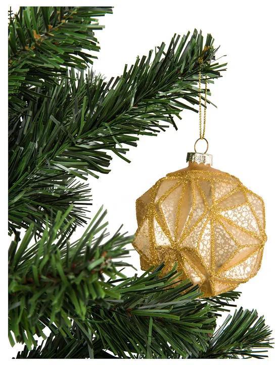 Kerstbal goud diep reliëf - glas