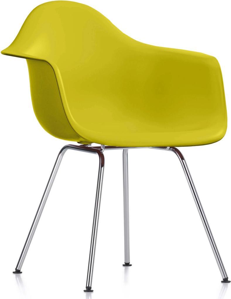 Vitra DAX stoel kuip mosterdgeel onderstel verchroomd