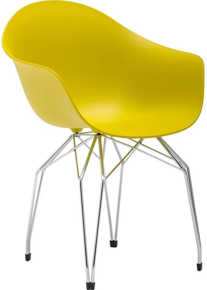 Goossens Eetkamerstoel Ta Diamant Onderstel Chroom Arm geel kunststof met arm, modern design