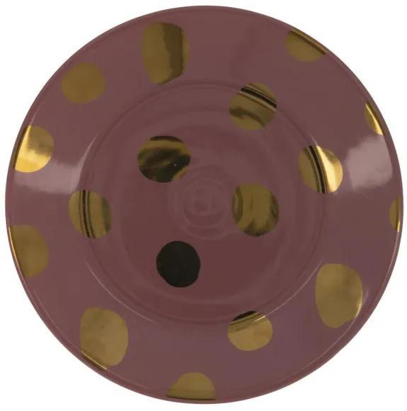 Gebaksbord - 17 Cm - Bergen - Roze Met Gouden Stip