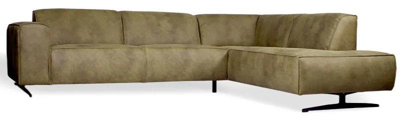 Hoekbank Lambada chaise longue rechts | leer Hunter groen 400 | 2,76 x 2,10 mtr breed
