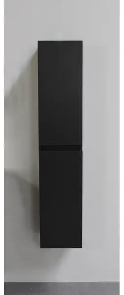 Adema Bella hoge kast greeploos 2 deuren 145x30x30cm zwart mat SWGAHKMZ