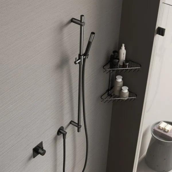 Hotbath Cobber glijstang 90cm met wandaansluitbocht doucheslang 150cm en handdouche geborsteld koper PVD M307BCP