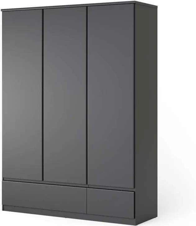 Kledingkast Naia - 3-deurs - mat zwart - Leen Bakker