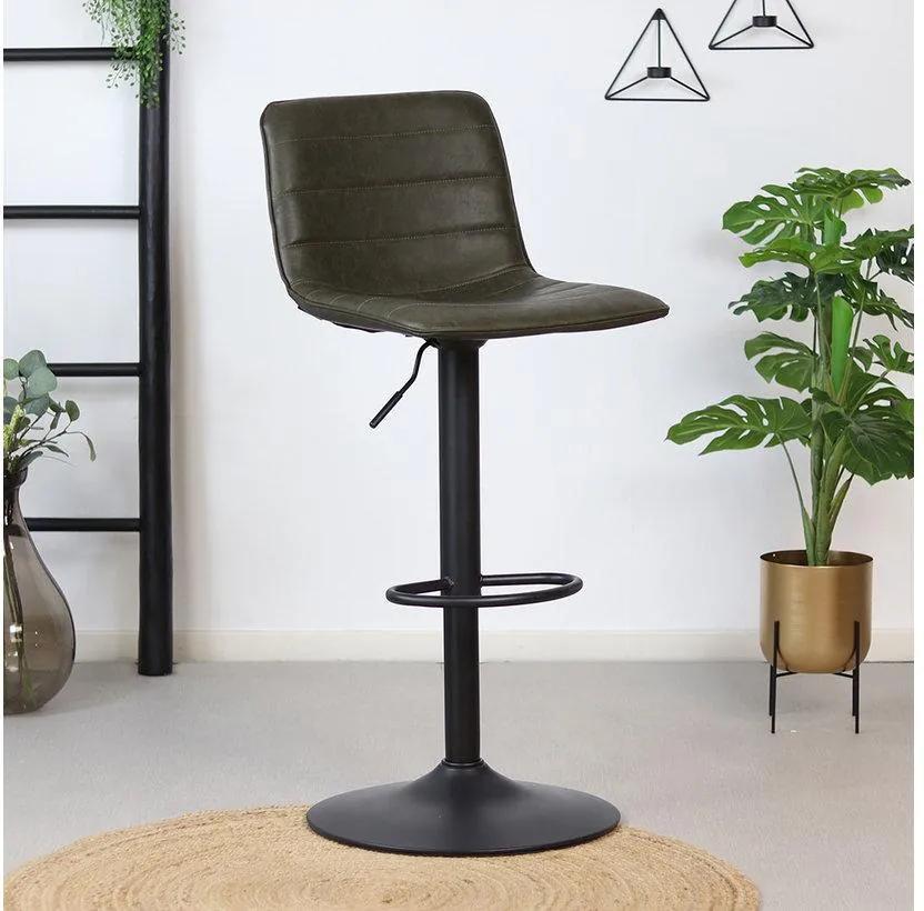 Bronx71 | Barkruk Noor draaibaar zithoogte 60-82 cm x zitdiepte 36 cm x breedte 42 olijfgroen, zwart barkrukken materiaal | NADUVI outlet