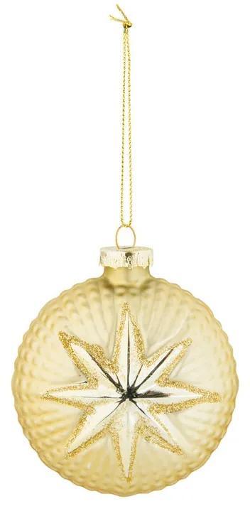 Kerstbal met een ster - goud - glas