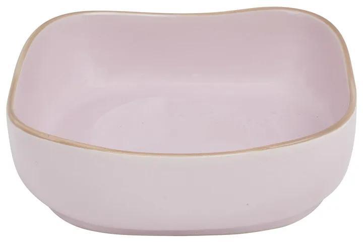 Kom organic vierkant - roze - 15 cm