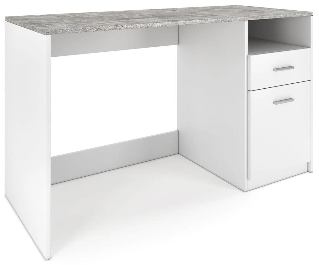 Nancy's Harvey Bureau - Werktafel - Computertafel - Opbergruimte - Opbergvak - Lade - Zwart/Wit - Beton - Bewerkt Hout - 120 x 50 x 75 cm
