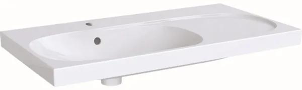 Geberit Acanto wastafel met kraangat met overloop 90x48.2x16.8cm m. afleg rechts wit 500625012 500.625.01.2