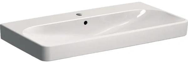 Geberit Smyle Square wastafel met kraangat met overloop 120x48x16.5cm wit 500226011 500.226.01.1