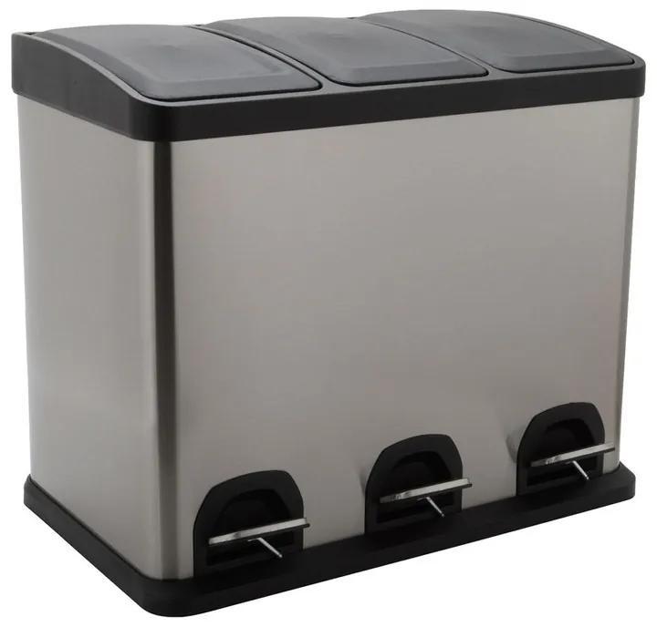 Pedaalemmer triple bin - 3x8 liter