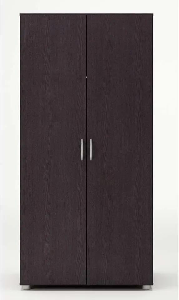Demeyere kledingkast Zippie 2 - donker hout - 51,5x80,4x166,6 cm - Leen Bakker