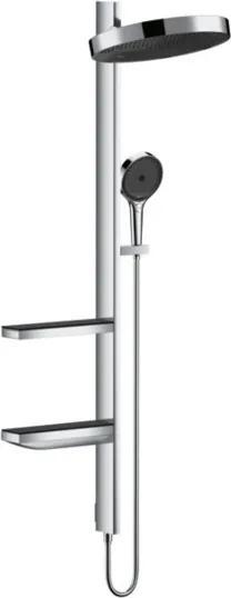 Hansgrohe Rainfinity PowderRain 360 1jet showerpipe: zonder douchethermostaat met hoofd- en handdouche, doucheslang + planchetten chroom 26842000