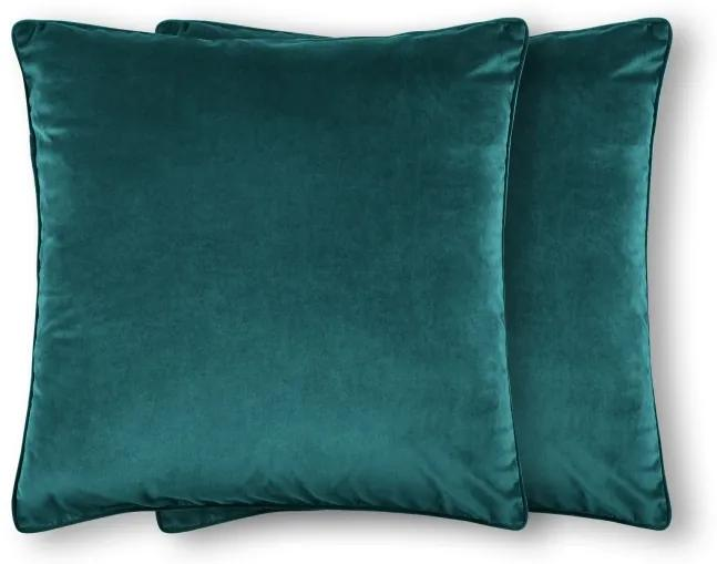 2 x Julius grote kussens, 59 x 59 cm, turkooisblauw fluweel