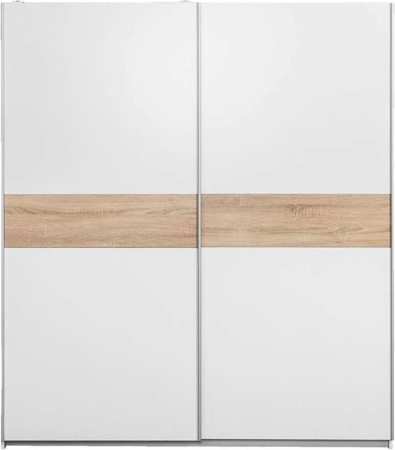 Schuifdeurkast Reims - wit/eiken - 195x170x60 cm - Leen Bakker