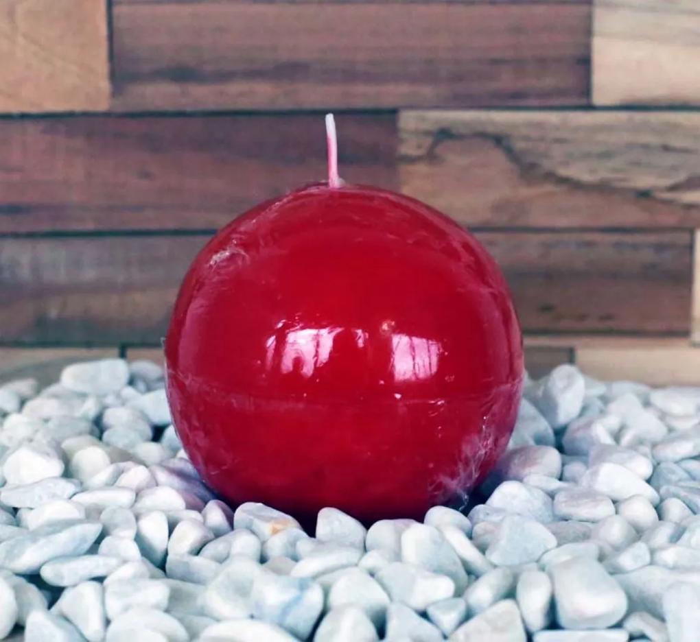 Geurkaars Ball Rood Rose dia. 8 cm