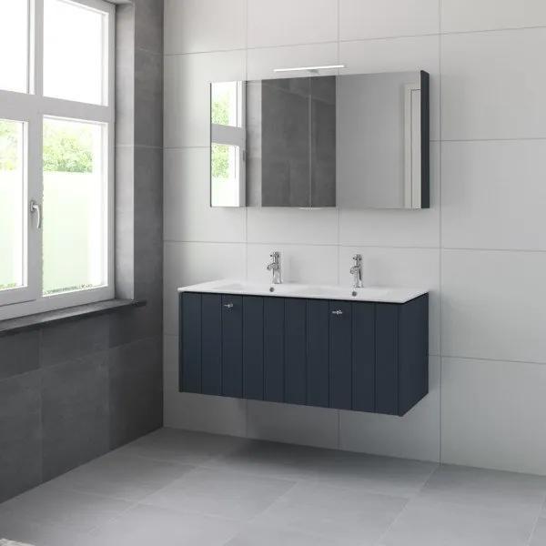 Bruynzeel Bino meubelset met spiegelkast en dubbele wastafel 120cm 2 kraangaten oud blauw 225346k