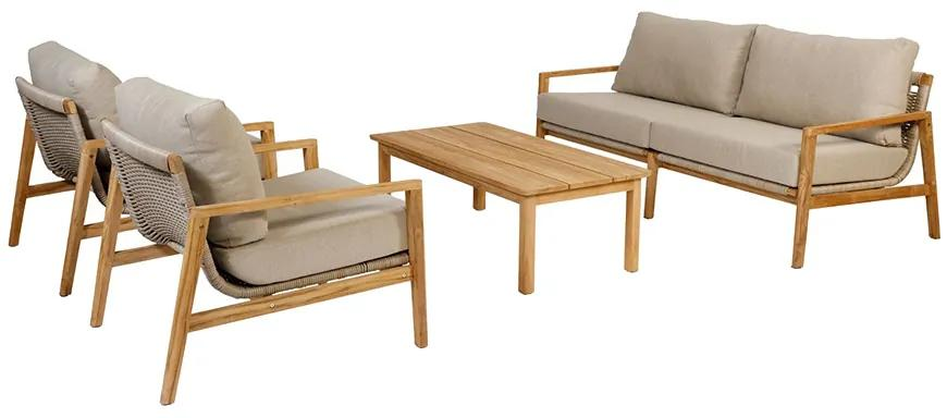 Exotan Florida stoel-bank teak loungeset - 4-delig