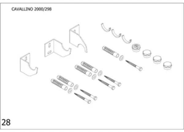 Plieger Cavallino bevestigingsset designradiator enkel Cavallino breedte 298mm zwart 7253760