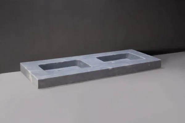 Forzalaqua Napoli wastafel 160x60x9cm RECHTHOEK 2 wasbakken Marmer gezoet blauw wit 100355