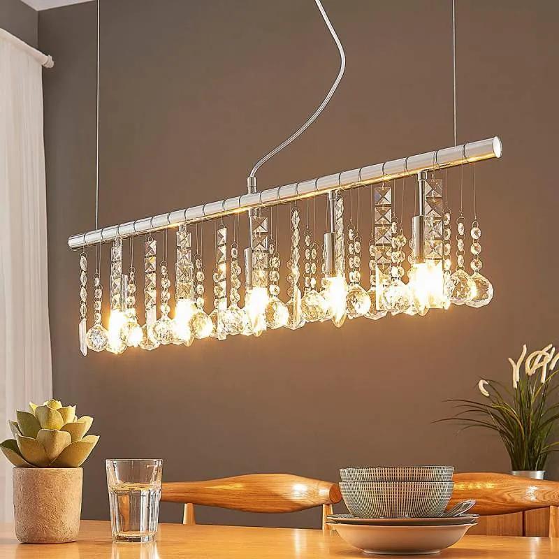 Langwerpige hanglamp Matei met kristallen, 5.lamps