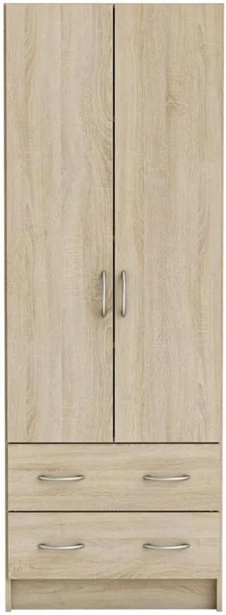 Demeyere kledingkast Cobi - 2-deurs /2 lades - licht eiken - 41,1x60,9x169,5 cm - Leen Bakker