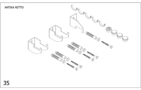 Plieger Antika Retto bevestigingsset designradiator Antika Retto zwart 7253851