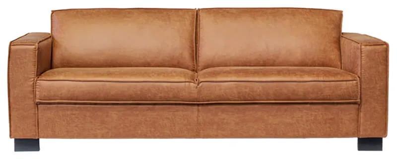 3-zits bank Shuffle | lederlook Missouri cognac 03 | 1,85 mtr breed