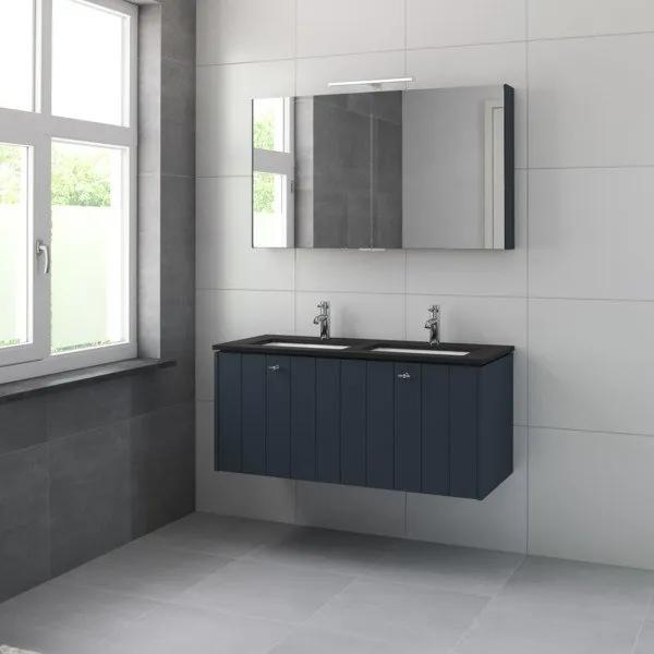 Bruynzeel Bino meubelset graniet wastafelblad met spiegelkast en dubbele wastafel 120cm 2 kraangaten oud blauw 225396k