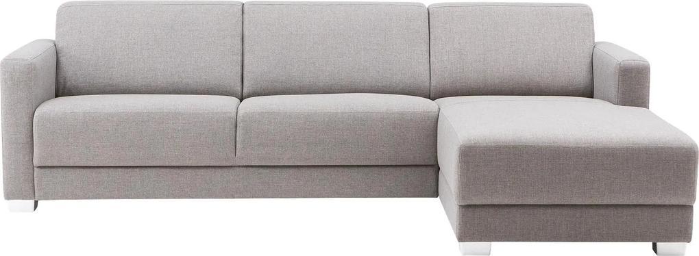 Goossens Bank My Style Met Chaise Longue lichtgrijs, stof, 2,5-zits, stijlvol landelijk met chaise longue rechts