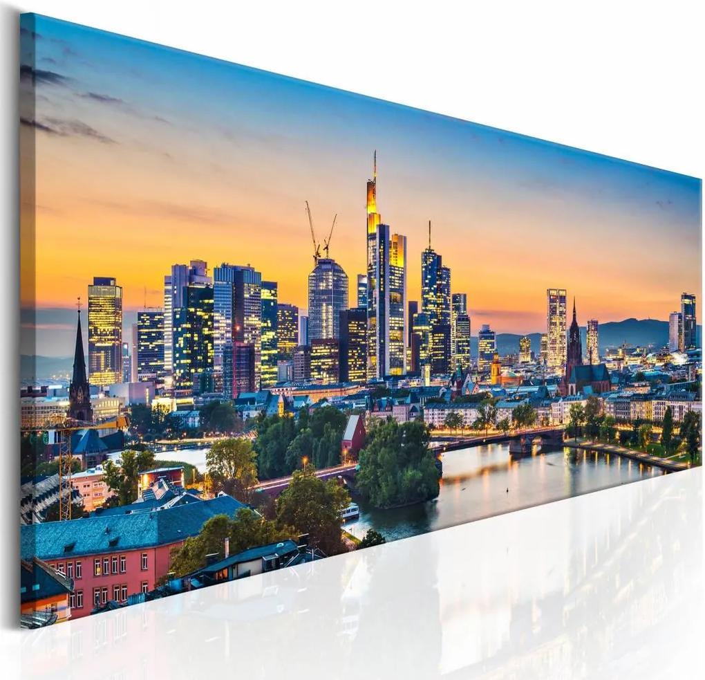 Schilderij - Avond in Frankfurt , multi kleur