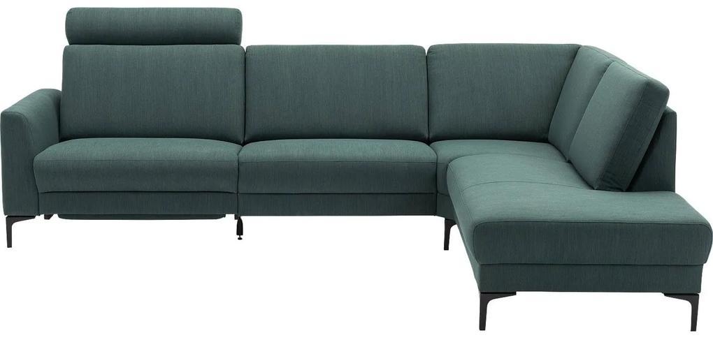 Goossens Hoekbank Dallas groen, stof, 1,5-zits, modern design met ligelement rechts