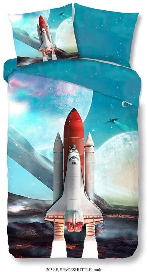 Good Morning kinderdekbedovertrek Spaceshuttle - multikleur - 140x200/220 cm - Leen Bakker