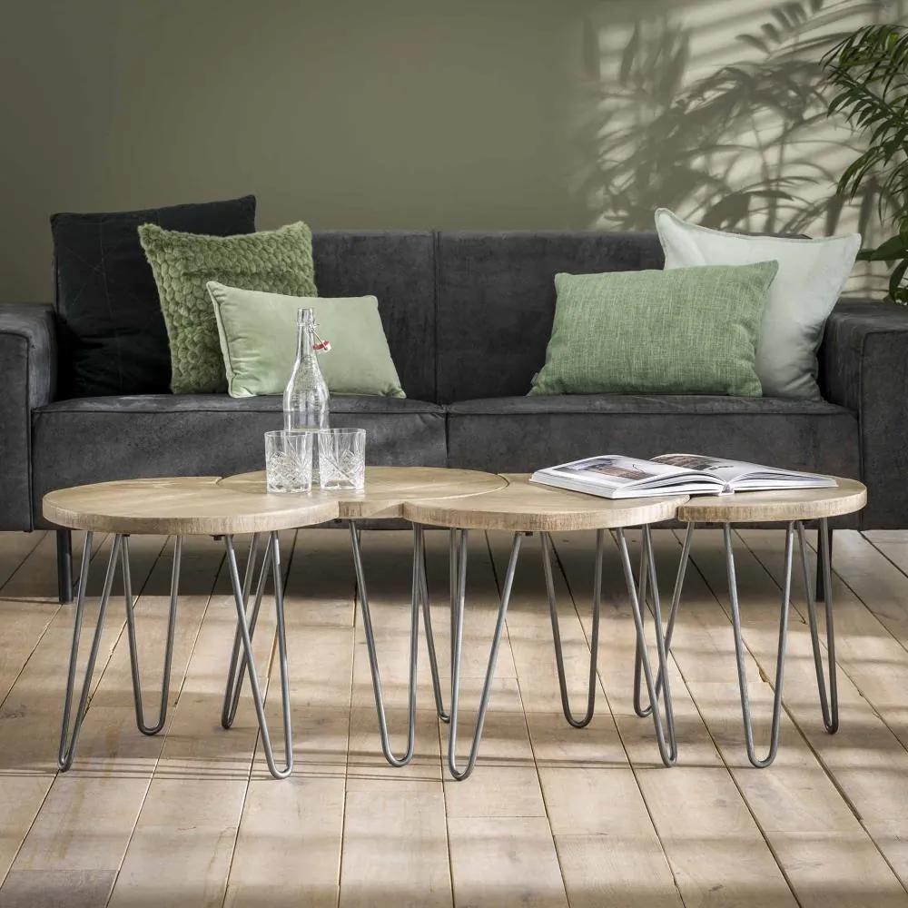 Salontafel set van 4 Licht  50 cm - Mango hout - Giga Meubel - Industrieel & robuust