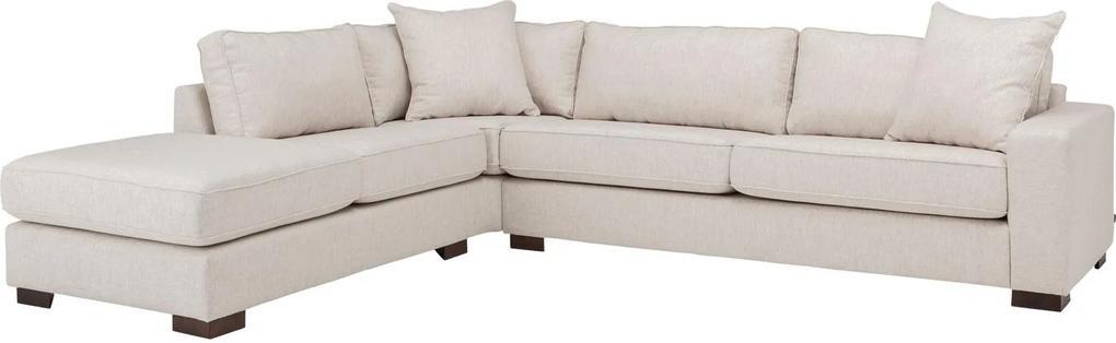 Goossens Hoekbank Thomas wit, stof, 3-zits, stijlvol landelijk met ligelement links