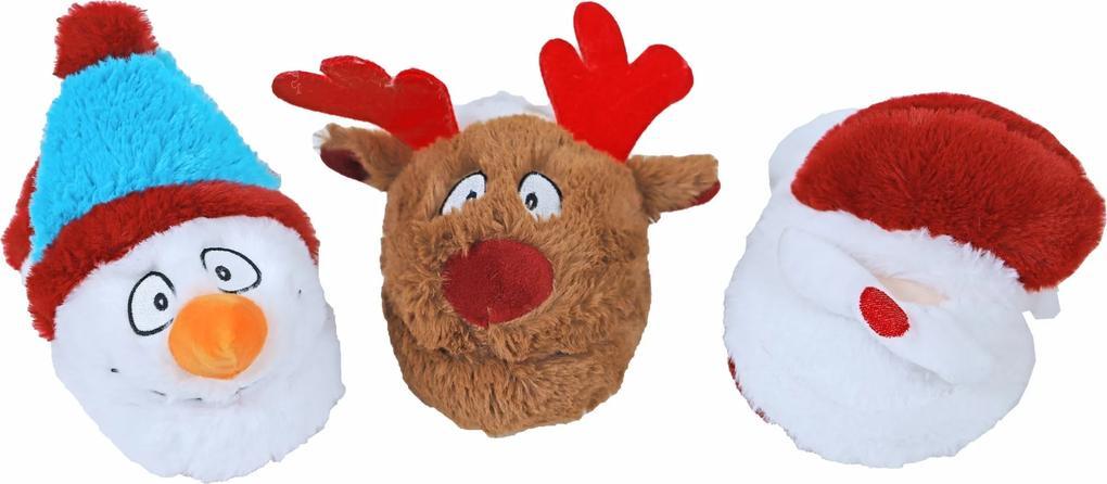 Hondenspeelgoed pluche kerstpantoffel met piep 23 cm assorti