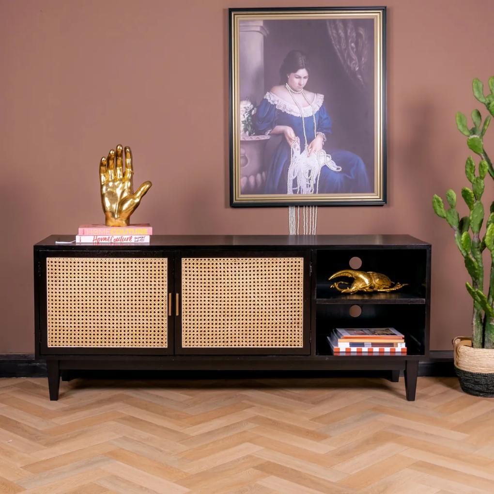 Rotan Webbing Tv-meubel Zwart - 160x40x65cm.
