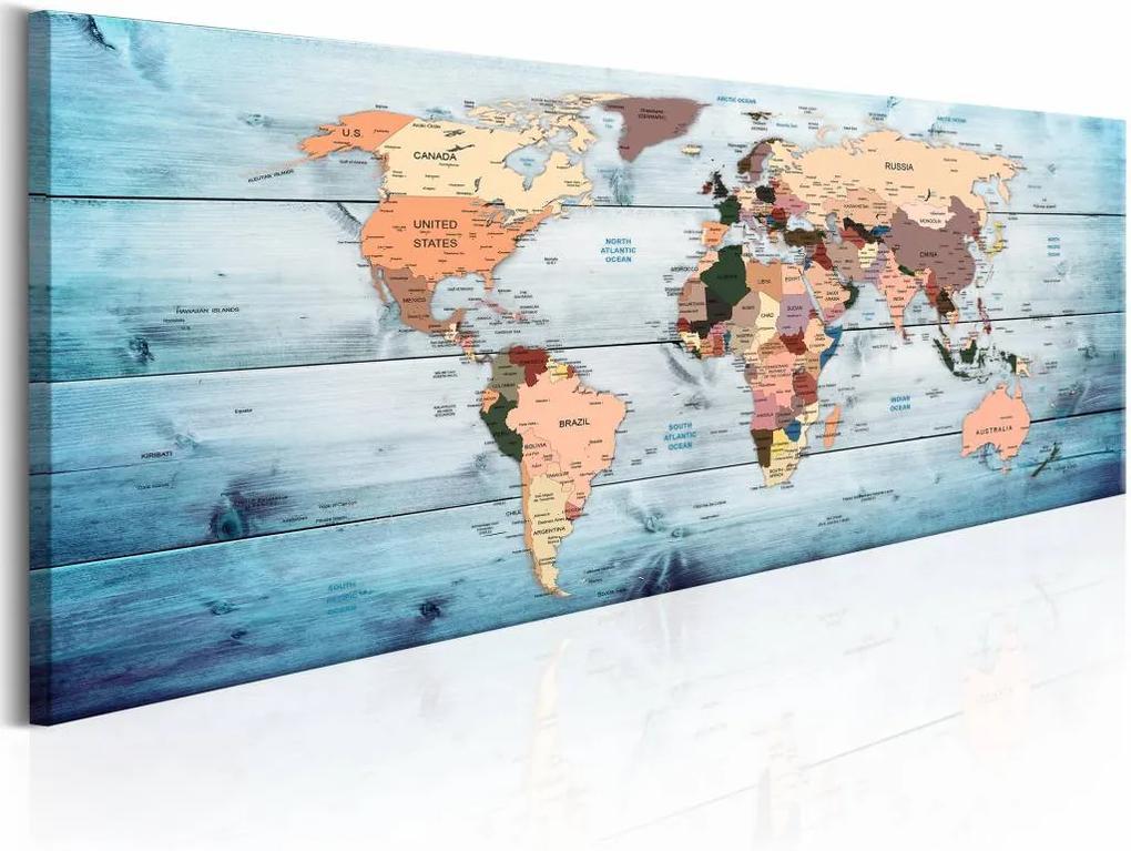 Schilderij - Blauwe Reis  - Wereldkaart , hout look