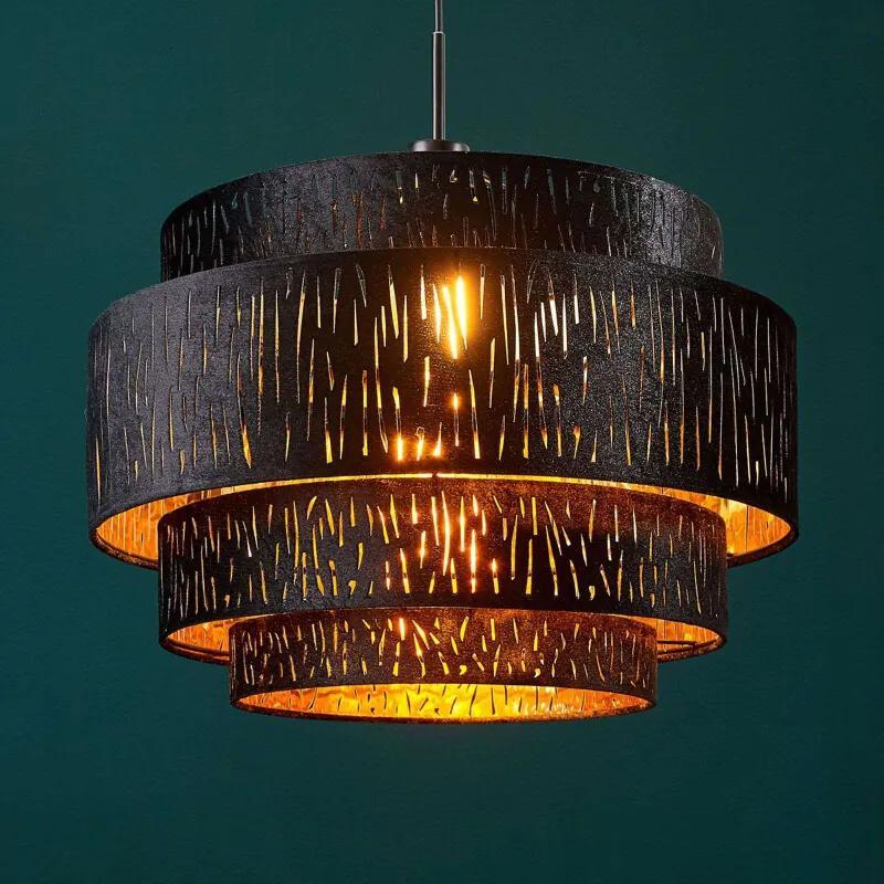Fluwelen hanglamp Jules, zwart-goud, 5 lagen