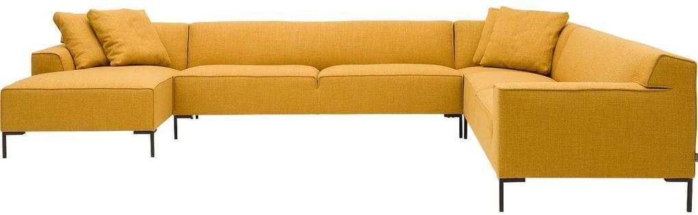 Goossens Excellent Hoekbank Gs-1506 geel, stof, modern design