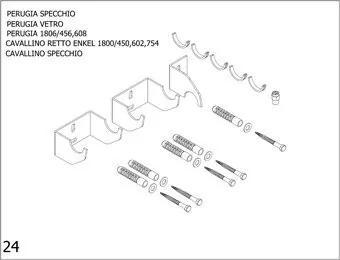 Plieger bevestigingsset designradiator enkel Cavallino Retto breedte 450/602/754mm perugia donkergrijs structuur 7253700