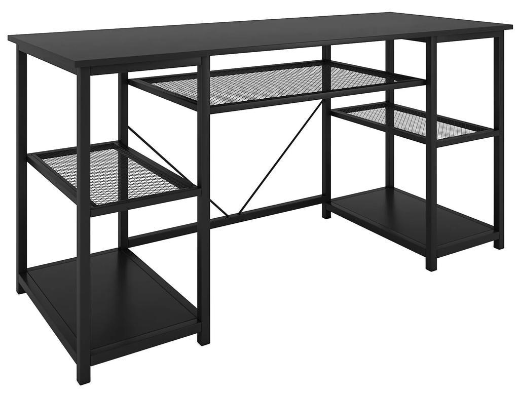 Nancy's Littleton Bureau - Computertafel - Kantoortafel - Opbergruimte - Bewerkt Hout - Gepoedercoat Staal - Zwart - 150 x 50 x 75 cm