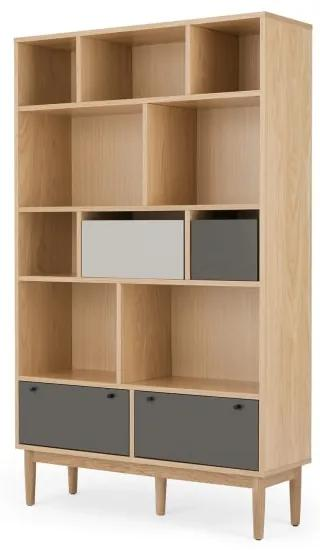 Campton brede boekenkast, eiken en grijs