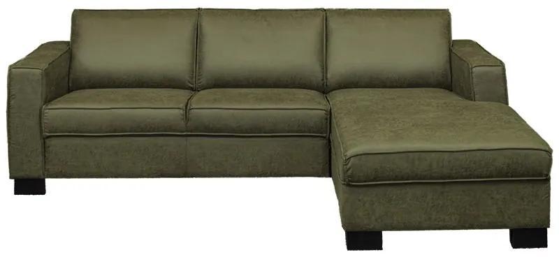 Loungebank Shuffle rechts | leer Dalton groen 14 | 2,35 x 1,61 mtr breed
