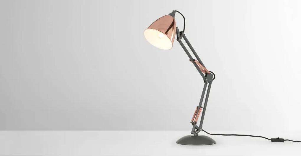Takio tafellamp, lichtgrijs en koper