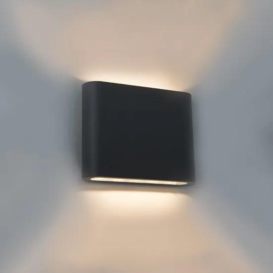 LED Wandlamp 6W Rechthoekig Warm Wit, Zwart