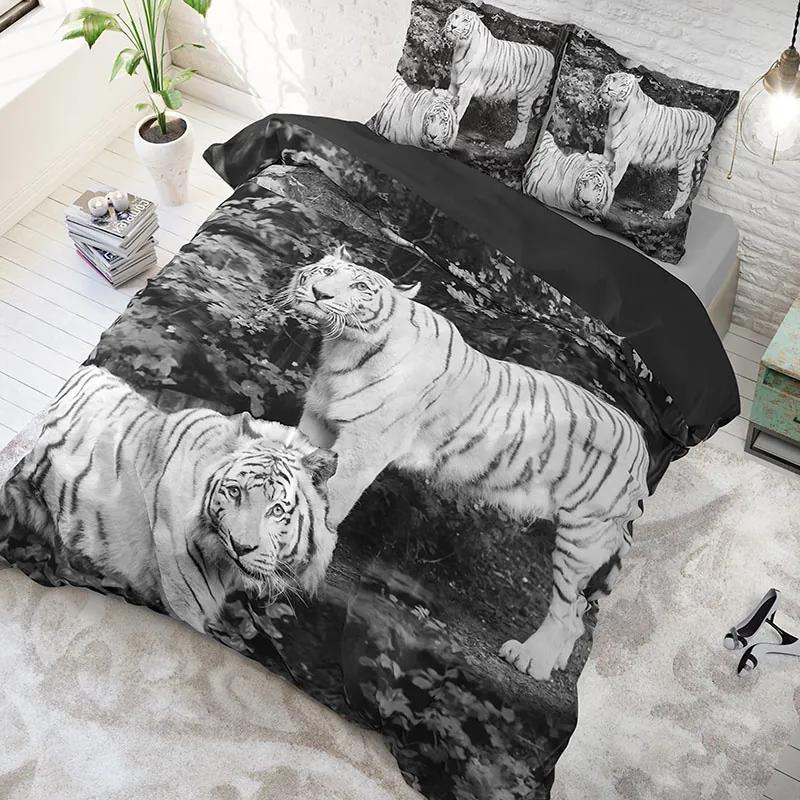 DreamHouse Bedding Tigers - Grijs 1-persoons (140 x 220 cm + 1 kussensloop) Dekbedovertrek